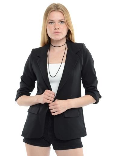 Reyon Kol İncili Kadın Blazer Ceket Siyah Siyah